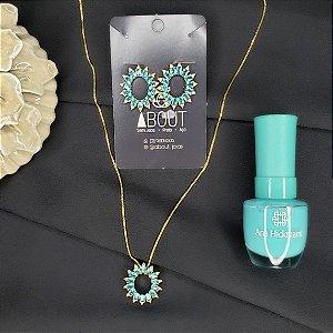 Conjunto colar e brincos com pingente cravejados em zircônias azuis banhado em ouro 18k + esmalte