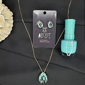 Conjunto colar e brincos com pingente cravejados em zircônias azuis em forma de gota banhado em ouro 18k + esmalte
