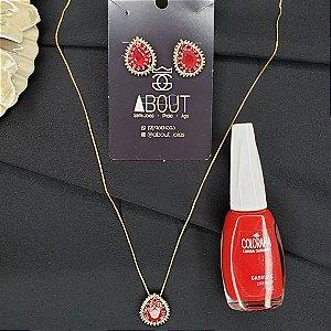 Conjunto colar e brincos com pingente cravejados com zircônias em forma de gota banhado em ouro 18k + esmalte