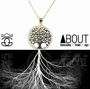 Colar com pingente árvore da vida cravejados com microzircônias banhado em ouro 18k