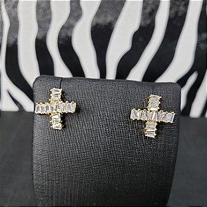 Brinco em forma de cruz banhado em ouro 18k ou banhado em rodio branco