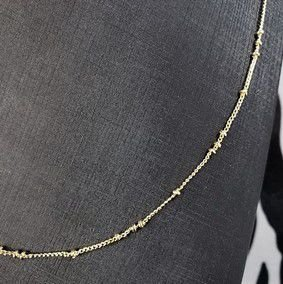 Colar fino com pequenos detalhes em forma de bolinhas banhado em ouro 18k (60cm)