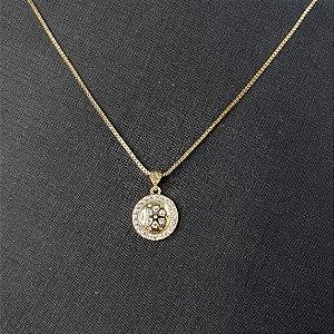 Conjunto colar e brincos com pingente circular cravejados com microzircônias  banhado em ouro 18k