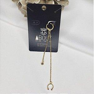 Brinco ear cuff com zircônia  banhado em ouro 18k