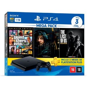 Console Playstation 4 Slim 1TB Bundle Hits Death Strading + 3 Meses Playstation Plus