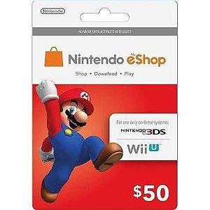 Cartão Nintendo Switch/ 3DS / Wii U eShop (Cash Card) $50