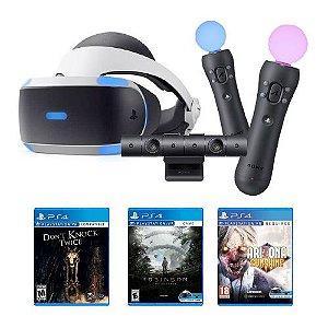 Óculos Playstation VR Seminovo + Camera + 2 PS Moves + Arizona Sunshine + Robinson The Journey + Don't Knock Twice  - CUH-ZVR2 - PS4
