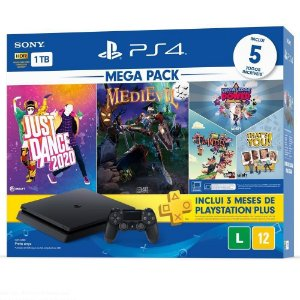 Console Playstation 4 Slim 1TB Bundle 11 com Just Dance 2020, MediEvil + 3 jogos de PlayLink Knowledge is Power