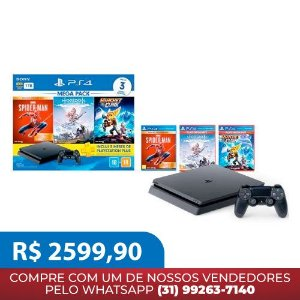 Console Playstation 4 Slim 1TB Bundle  - Horizon Zero Dawn Complete + Marvel's Spider-Man Ed. Jogo do Ano + Ratchet & Clank