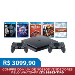 Console PlayStation 4 Slim 1TB Bundle com 2 Controles - Dreams + Marvel's Spider-Man + Infamous Second Son + The Last of Us 2 + Um jogo do Catalogo