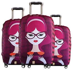 Kit 3 Capas para Malas Premium Luggio Estampa Violetta