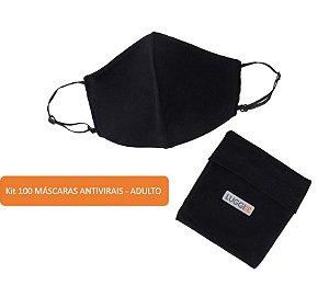 Kit 100 Máscaras Antivirais Adulto Luggio com Porta-Máscaras
