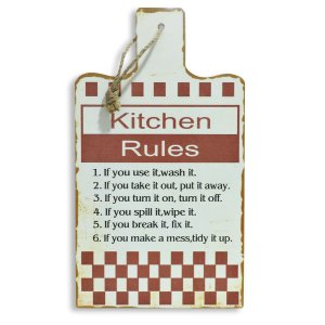 PLACA DECORATIVA KITCHEN RULES 35 CM