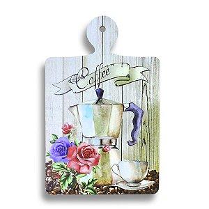 DESCANSO DE PANELA EM MADEIRA COFFEE ROSAS 25X16 CM