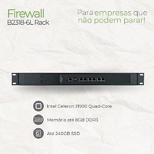 Firewall Appliance - B2318-6L Rack - Intel Celeron J1900 Quad Core - 6 Rede RJ45 GbE - até 8GB memória - até SSD 240GB e HD 1TB