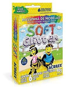 MASSINHA PARA MODELAR SOFT GLITER C/6 CORES 90G ACRILEX