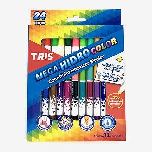 CANETA HIDROGRÁFICA MEGA HIDROCOLOR BICOLOR 12/24 CORES TRIS