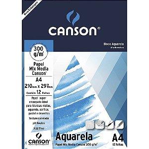 BLOCO DESENHO A4 AQUARELA BRANCO 300G 12F - CANSON