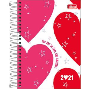 AGENDA ESPIRAL DIÁRIA LOVE PINK 2021 TILIBRA