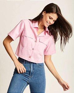 Camisa Cropped Rosa