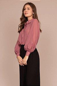 Camisa Social Mangas Rosa