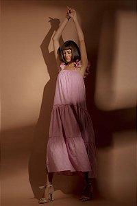 Vestido Longo Folhas Rosa