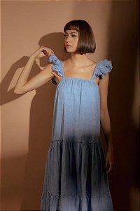 Vestido Longo Folhas Azul