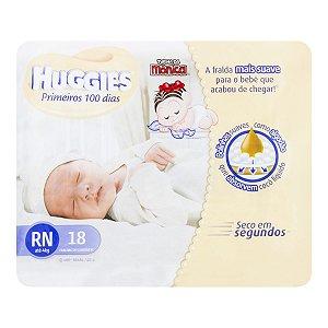 FRALDA DESCARTÁVEL INFANTIL HUGGIES TURMA DA MÔNICA PRIMEIROS 100 DIAS RN PACOTE 18 UNIDADES