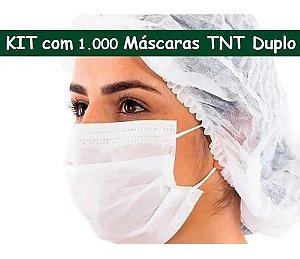 Kit 1000 Máscaras Descartável Com Elástico Tnt Duplo Branca