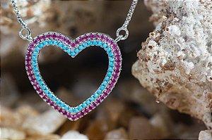 Coração Nano Turquesa e Rubi
