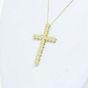 Cruz Zircônias Brancas Folheada a Ouro Amarelo