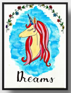 Quadro decorativo Unicórnio Dreams