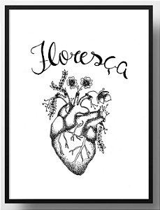 Quadro decorativo Coração preto e branco Floresça