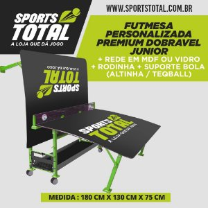 Futmesa Personalizada JUNIOR Premium Dobravel + Rede em Mdf ou Vidro + Rodinha + Suporte Bola (Altinha / Teqball)