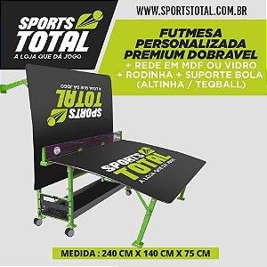 Futmesa Personalizada Premium Dobravel + Rede em Mdf ou Vidro + Rodinha + Suporte Bola (Altinha / Teqball)