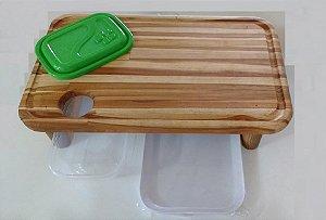 Tábua artesanal Para Churrasco Baby c/ Bandeja + Recipiente de resíduos e gordura