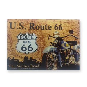 Placa Decorativa em MDF - U.S. Route 66 - 18x23 cm
