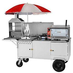 Carrinho completo 5x1 - Pizza / Pizza cone / Churrasco / HotDog e Lanche - com reservatório térmico