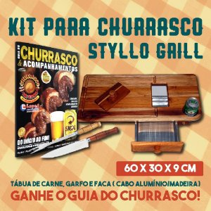 Kit p/ Churrasco Styllo Grill - Tábua de Carne, Garfo e Faca (Cabo Alumínio/Madeira) + Ganhe o Guia do Churrasco!