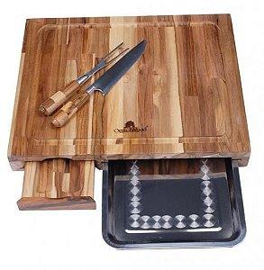 Tábua Kit Barbecue com bandeja (faca e garfo)