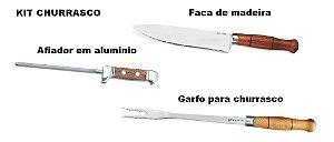 kIT Churrasco (Faca redonda de madeira + Garfo + Afiador)