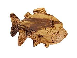 Tábua de Carne artesanal em madeira em forma de Peixe