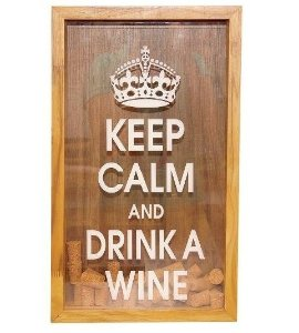 "Quadro decorativo Porta rolha (""Keep calm and drink a wine"")"