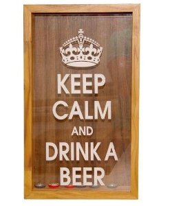 "Quadro decorativo Porta tampas de garrafas (""Keep calm and drink a beer"")"