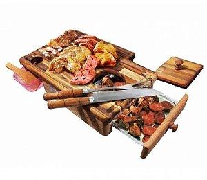 Kit p/ Churrasco Master Grill - Tábua de Carne, Garfo e Faca (Cabo Alumínio/Madeira) + Ganhe o Guia do Churrasco!