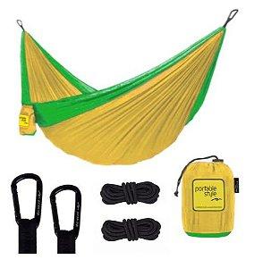 Rede de Camping Portátil c/ corda + Carabiners - Mostarda e Verde limão