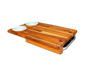 Tábua artesanal para churrasco c/ bandeja lateral + 2 cumbucas plásticas