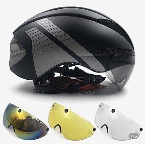 Capacete Aerodinâmico com 4 lentes Triathlon Ref.180