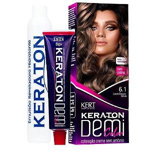 Coloração Semipermanente Keraton Demi Color 6.1 - Louro Escuro Cinza