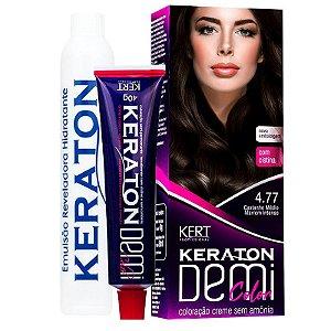 Coloração Semipermanente Keraton Demi Color 4.77 - Castanho Médio Marrom Intenso